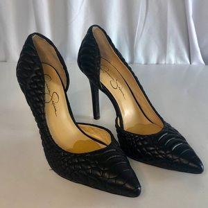 Jessica Simpson Black Quilted Caldas  Heels 9.5